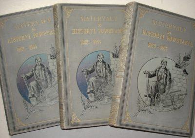 Materyały do historyi powstania 1863-64 tom 1-3 wyd. z 1888 r. ładna oprawa wyd. 900 zł.